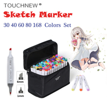 цена на TOUCHNEW Alcohol Markers 30/40/60/80/168 Colors Dual Head Sketch Markers Brush Pen Set For Drawing Manga Design Art Markers