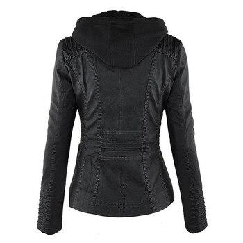 2020 New Women Autumn Winter Faux Soft Leather Jackets Coats Lady Black PU Zipper Epaule Motorcycle Streetwear