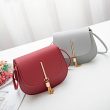 PACGOTH New Fashion PU Leather Solid Color Gold Metal Tassel Saddle Bag For Women Party Small Tote Bag Casual Messenger Bag graceful pu leather and metal design tote bag for women