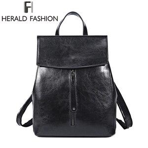 Image 2 - HERALD FASHION Genuine Leather Backpack Vintage Cow Split Leather Women Backpack Ladies Shoulder Bag School Bag for Teenage Girl