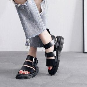 Image 1 - Designer sandals  Gladiator Gryphon Strap Martins Leather women's sandals Summer 2020 Womens Sandals Flat Women Shoes