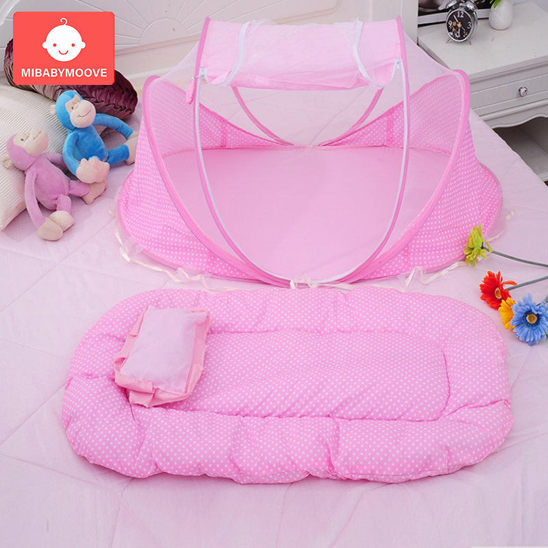 3Pcs/set Portable Baby Mosquito Net Bed Folding Cotton Baby Bedding Crib Netting Infants Insect Netting Cushion Pillow Mattress
