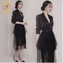 Нарядный черный женский комплект с юбкой миди, комплект, состоящий из кружевной нижней юбки-карандаш и верхней юбки из тюля, а также шелковой укороченной блузы с v-образным вырезом и акцентом на талии
