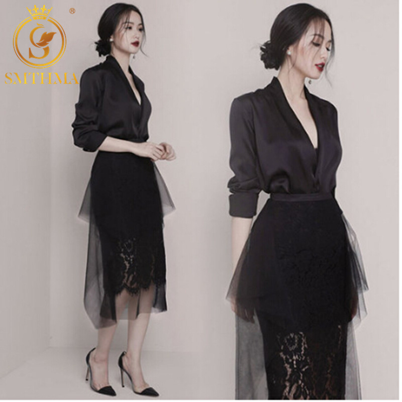 Fashion Runway Sexy V-neck Womens Tops And Blouses 2019 Designer Suit Set Women's Lace Gauze Patchwork Pleated Skirt Suit Set