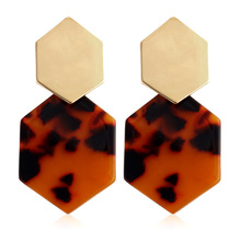 2019 Hot Sale Geometric Resin Alloy Drop Earring For Women Hexagon Colorful Acrylic statement Dangle Party Jewelry