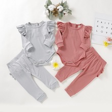 Soft Baby Girl Clothes 2Pcs Set Newborn Ruffle Sleeve Bodysuit+Comfortable Pants Infant Toddler Boy D20
