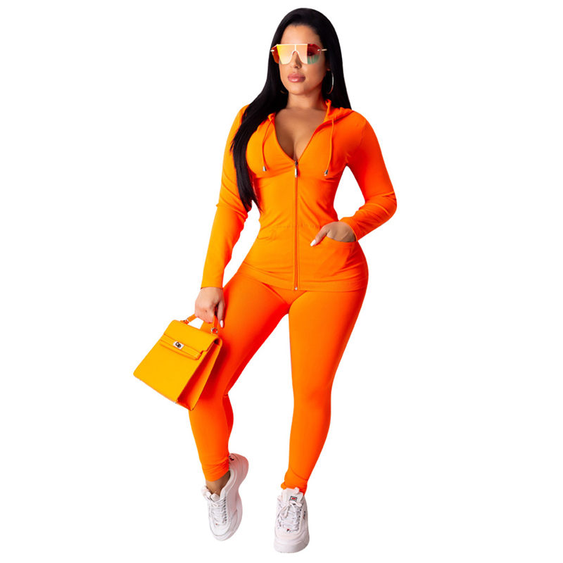 4 Colors Women Casual Solid Color Sports Set Female Tracksuit Gym Fitness Workout Outfit Zipper Hooded Top+Skinny Pants Set