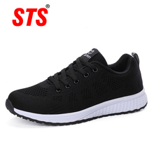 STS 2019 Autumn sneakers women flat shoes female casual lace-up breathable mesh ladies walking