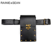 RAINIE SEAN Punk Waist Packs Black Coffee Belt Bag Leather Women Pack Rivet Motorcycle Sport Fanny Belts