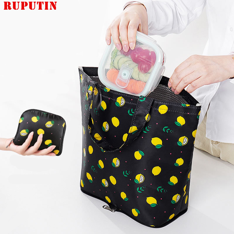 New Folding Portable Lunch Bag Large Capacity Aluminum Foil Thickening Insulation Bag Waterproof Oil-proof Lunch Box Picnic Bags