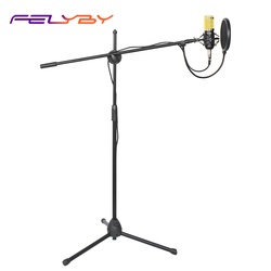 FELYBY bm 800 Condenser Microphone for Computer Audio Studio Vocal Rrecording with Floor Stand Microphone Holder karaoke Mic