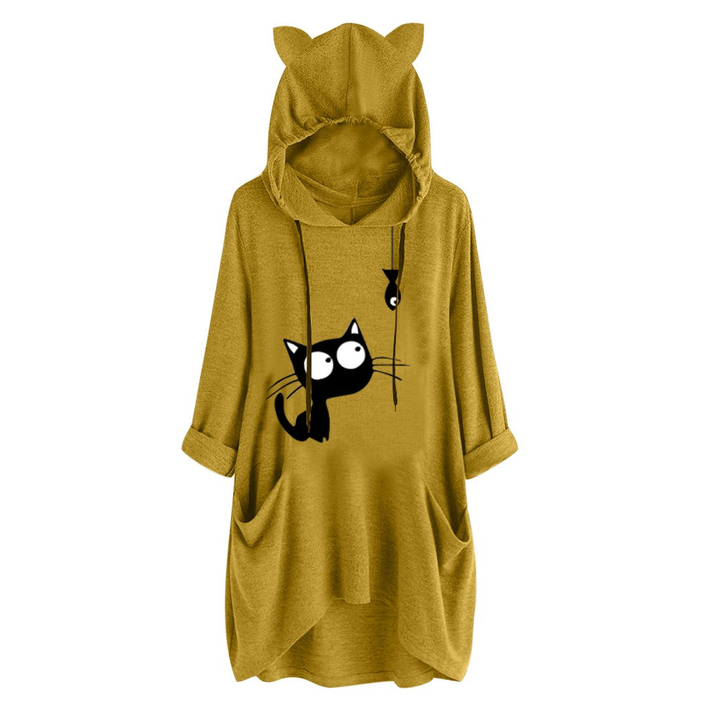 Jaycosin Fashion New Leisure Long Sleeves Print Cat Ear Hooded Pullovers Tops Comfortable Women's Hooded Sweatshirt Tops 109#4