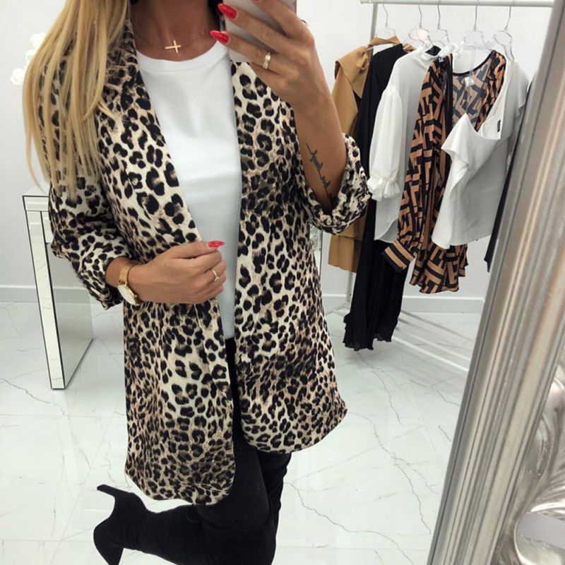 2019 Office Lady Vintage Lapel Collar Coat Fashion Leopard Notched Outerwear Women Triple Sleeve Blazer