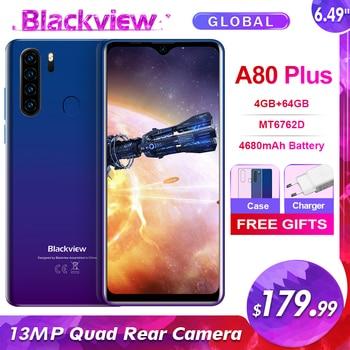 Blackview A80 Plus 6.49'' 4GB+64GB MT6762D Octa Core Android 10.0 Smartphone 13MP Quad Camera 4680mAh 4G NFC Mobile Phone 1