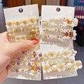 Neue Frauen Elegante Shell Blume Perlen Kristall Geometrische Haarnadeln Süße Haar Clips Stirnband Barrettes Fashion Haar Zubehör