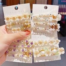 Nowe damskie eleganckie muszle kwiaty z perłami geometryczne z kryształkami spinki do włosów słodkie spinki do włosów z pałąkiem na głowę Barrettes modne dodatki do włosów