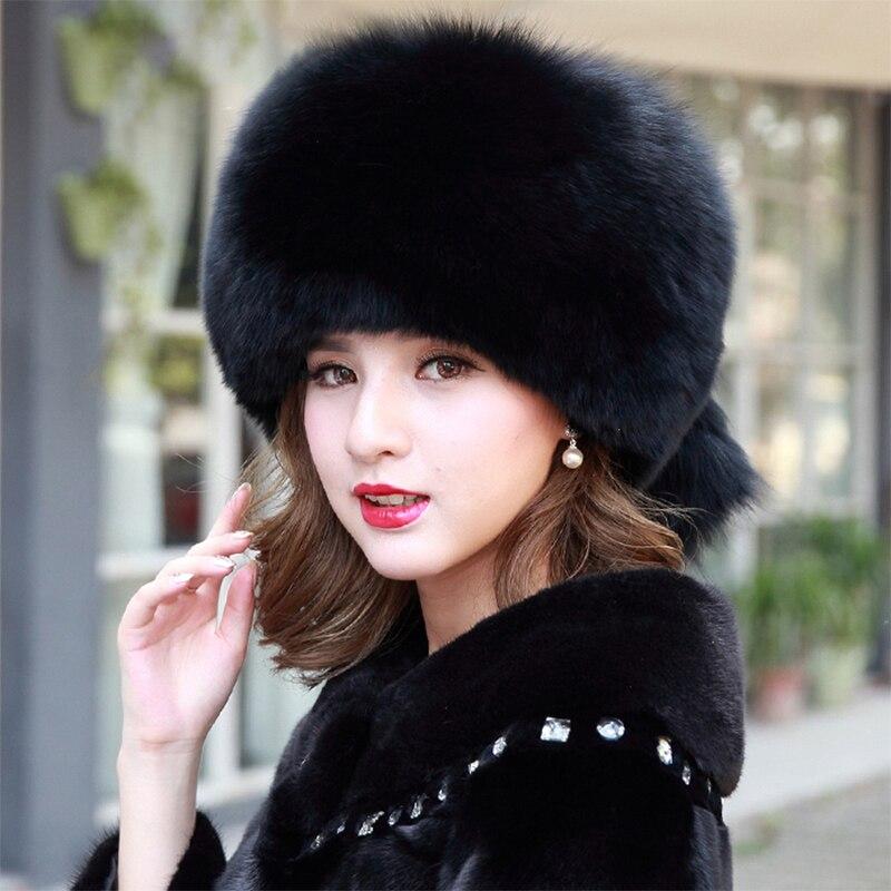 100% Real Fox Fur Straw Hat Ladies Russian Ushanka Ski Hat Thickened Warm Fox Fur Straw Hat Winter Fur Hat
