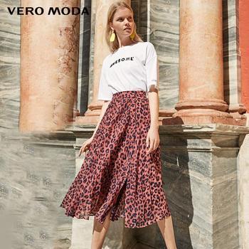 Vero Moda Womens Leopard Print Pleated Chiffon Skirt | 319216514