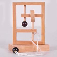 Escritorio novedad rompecabezas juguete 3D cuerda de madera Loop puzle IQ cuerda mente teaser juego para niños regalo aprendizaje educación rompecabezas juguete
