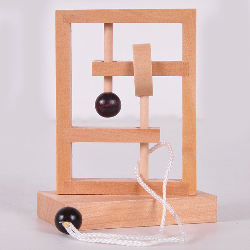 Hot Desk Novelty 3D Wooden Rope Loop Puzzle IQ Mind String Brain Teaser Game For Adults Kids Gift Learning Education Puzzle Toy