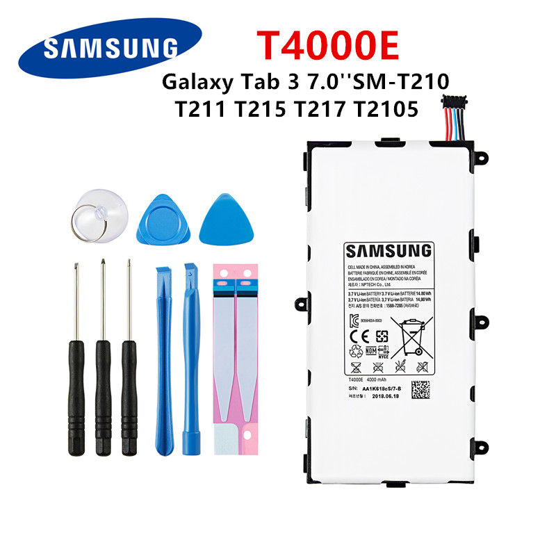 SAMSUNG Orginal Tablet <font><b>T4000E</b></font> battery 4000mAh For Samsung Galaxy Tab 3 7.0 T211 T210 T215 T217A T210R T2105 P3210 P3200 +Tools image
