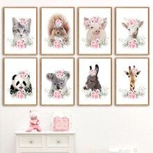 Koala Giraffe Rabbit Sheep Zebra Nursery Wall Art Print Canvas Painting Nordic Posters And Prints Pictures Kids Room Decor