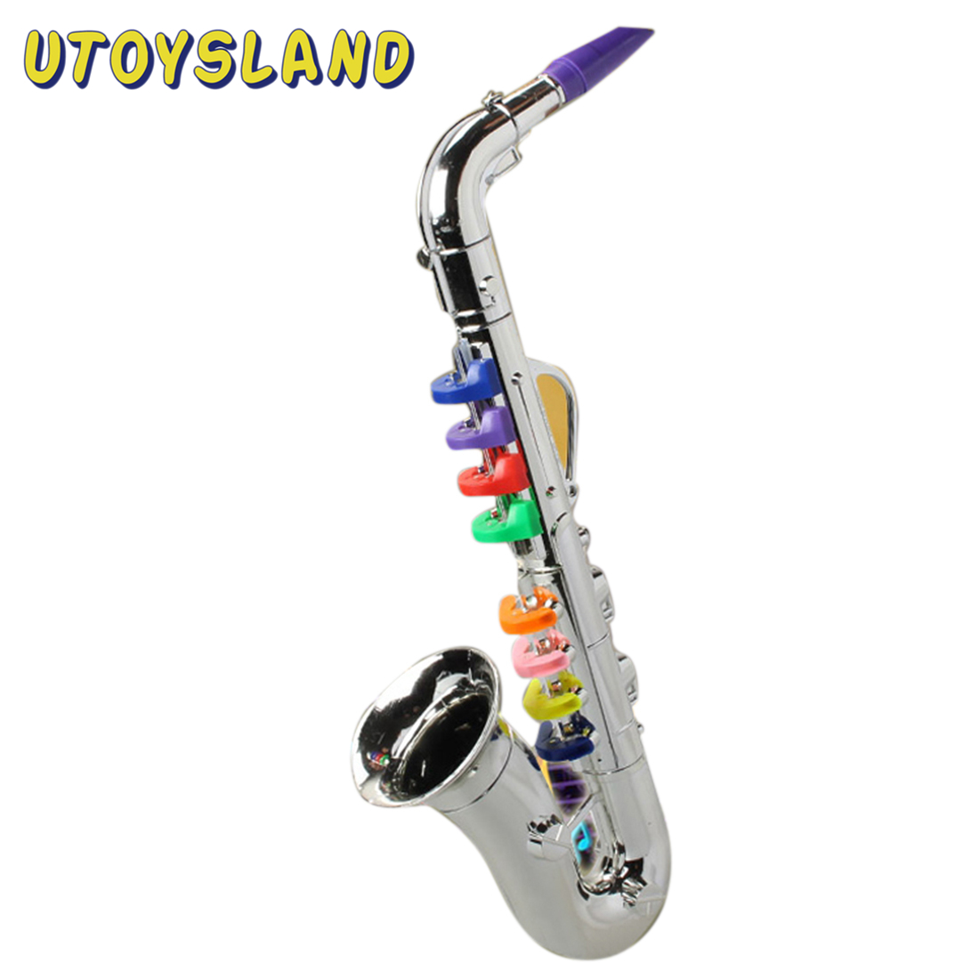 Children Simulation 8 Tones Saxophone Trumpet Early Educational Musical Toy Kids Toys Party Props For Birthday - Silver Golden