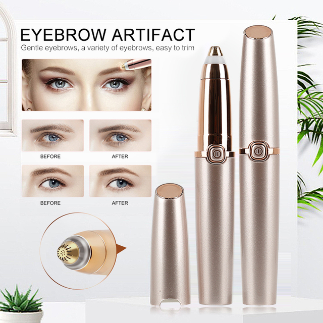 New Electric Eyebrow Trimmer Eye Makeup Care Lipstick Brows Pen Hair Remover Painless Eyebrow Razor Epilator with LED Light 5