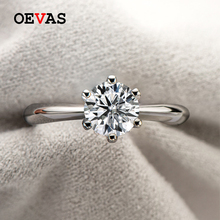 OEVAS Real 1 Carat D Color Moissanite Wedding Rings For Women Top Quality 18K White Gold Color 100% 925 Sterling Silver Jewelry