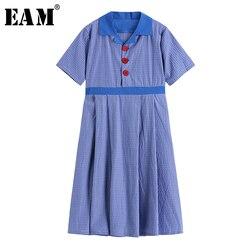 Женское платье средней длины EAM, синее клетчатое платье с коротким рукавом и отложным воротником, весенне-летняя мода 2020 1W687