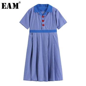 [EAM] Women Blue Plaid Split Joint Elegant Midi Dress New Lapel Short Sleeve Loose Fit Fashion Tide Spring Summer 2020 1W687