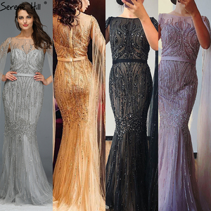 Image 2 - Dubai Pink Luxury Long Sleeves Evening Gowns 2020 Mermaid Sequins Beading Sexy Fromal Dresses Serene Hill LA70160