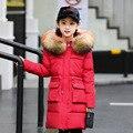 2020 г.  Детский пуховик детская одежда средней длины для девочек тяжелое пальто новая плотная зимняя одежда с большим меховым воротником для ...