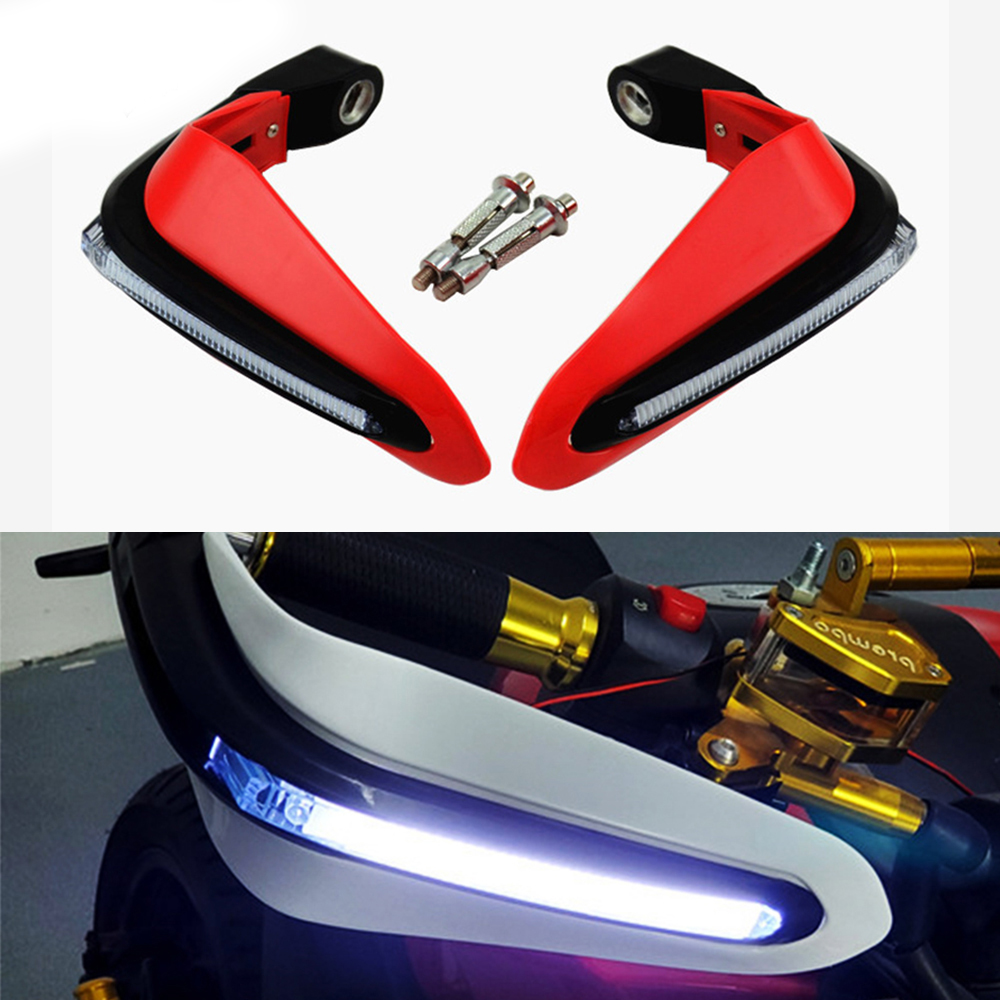 motorcycle handguard hand guards handlebar protection with <font><b>light</b></font> for cbr 250r <font><b>gsxr</b></font> <font><b>600</b></font> ducati monster goldwing dominar 400 image