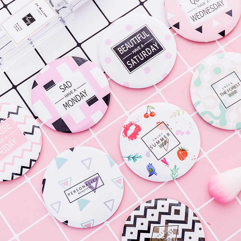 1pc mini Cartoon Anti-fall Portable Small Mirror Cute Girls Makeup Mirror Pocket Mirror For Beauty Tools