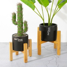 Shelf-Holder Bonsai-Stand Plant-Decor Bamboo-Display Wooden Gard Free Pot O5S3 Home-Tray