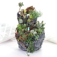 Creative Double Layer Succulents Platter Flower Pot Mini Sky Garden Figurine Garden Planter Pot Desktop Home Decoration Gift