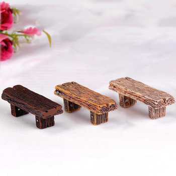 1pc Resin wooden stool Furniture Crafts Courtyard Decoration for Miniature Dollhouse Toys Modern Landscape Fairy Garden Ornament image