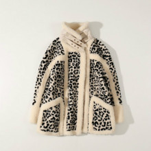 Fur Coat Leopard-Print Shearling Camel Short Sheep Wool Full Pellet One-Piece Lamb-Hair