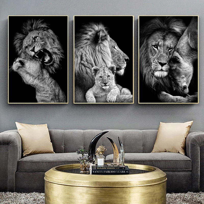 Black White Animals Art Lions Oil Painting Canvas Art Posters and Prints Wall Pictures for Living Room Home Wall Cuadros Decor