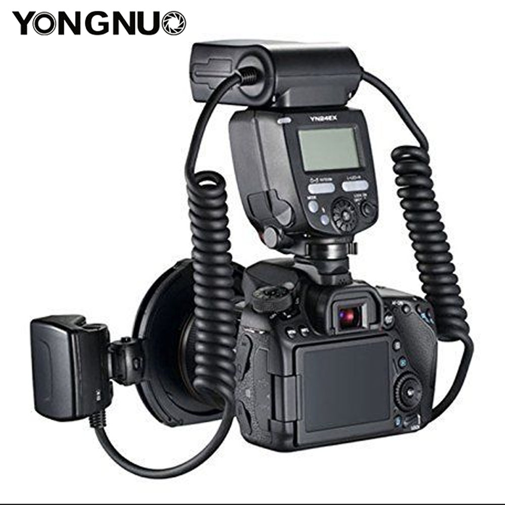 Image 3 - YONGNUO YN24EX YN24 EX Macro Ring Flash E TTL Flash Speedlite with 2pcs Flash Heads 4pcs Adapter Rings for Canon EOS Cameras-in Flashes from Consumer Electronics