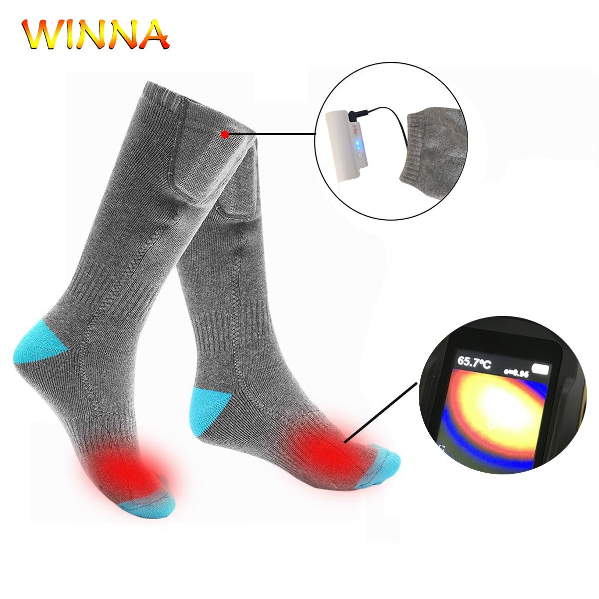 Chaussettes de sport chauffées d'hiver avec batterie au Lithium Rechargeable 2200mah pour les femmes