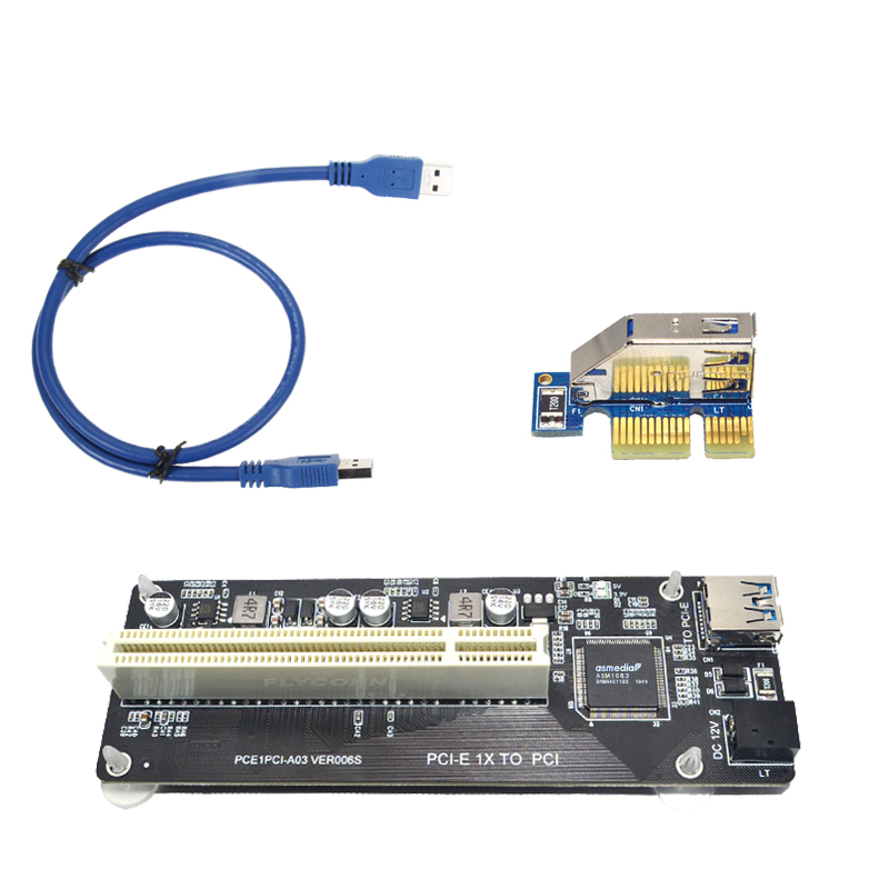 PCIE PCI-E PCI Express X1 to PCI Riser Card Bus Card High Efficiency Adapter Converter USB 3.0 Cable for Desktop PC ASM1083 Chip 6