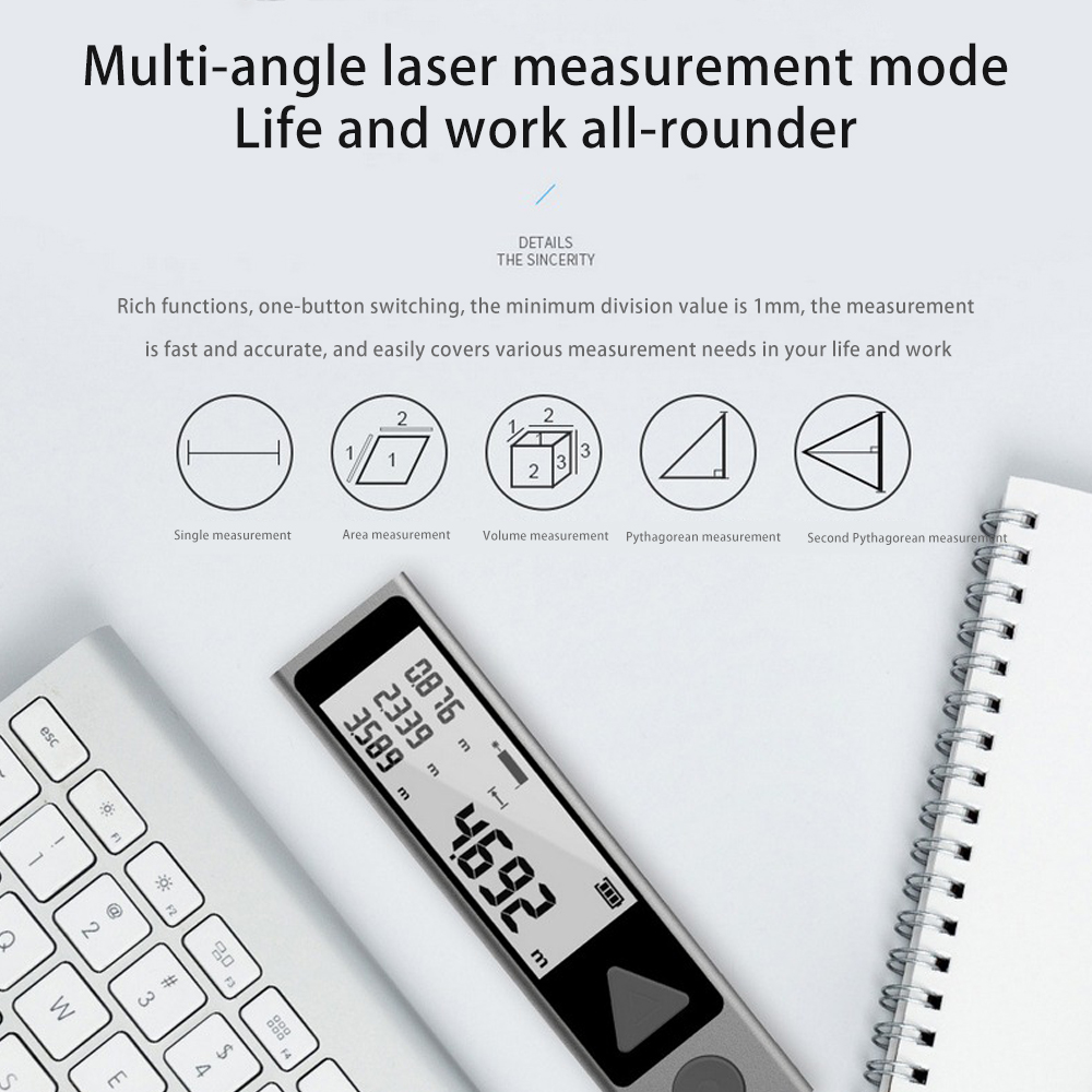 Tools : MiLESEEY M120 40M Bluetooth Laser Distance Meter Range Portable Rangefinder Hnadheld Distance Finder Tape Measure Ruler Device