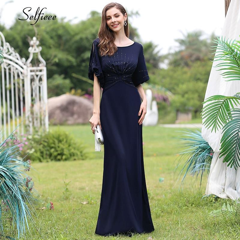 Женское вечернее платье-русалка, элегантное темно-синее платье с круглым вырезом и бисером, с полурукавами, сексуальное длинное платье для ...,