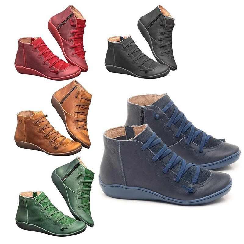 2019 Arch Unterstützung Stiefel Frauen Dämpfung Weichen Bequemen Flachen Boden Stiefel Leder Zipper Stiefeletten Frauen Schuhe Botas Mujer