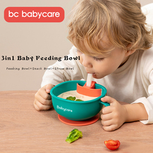 BC Babycare 3in1 Baby Feeding/Snack/Soup Bowl with Straw Infant Learning Dishes Suction Bowl Handle Tableware Petal Snack Bowl
