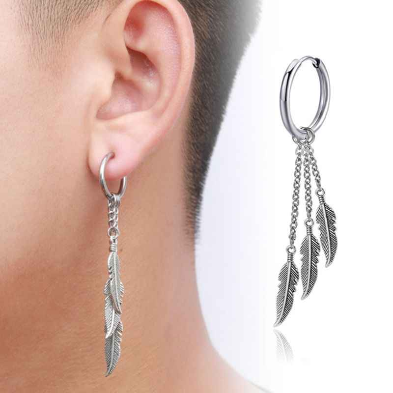 New Retro Fringed Chain Earrings Men Women Earrings Ear Buckle Leaf Pendant Earring Jewelry U50C
