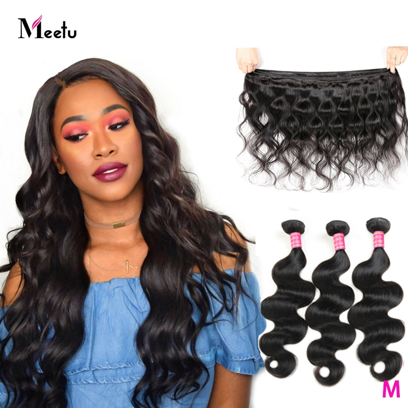 Meetu Indian Body Wave Hair Bundles 1 3 4 Piece Non Remy Hair Extensions Weave 8-28inch Natual Color Human Hair Weave Bundles