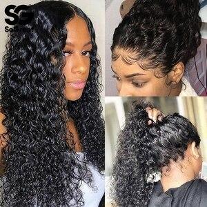 360 peruca cheia do laço perucas de cabelo humano água profunda onda encaracolado peruca frente laço hd completo pré arrancado com o cabelo do bebê 360 peruca frontal do laço